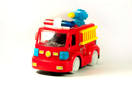 antique fire truck: Toy fire truck on a white background