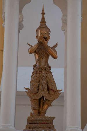 humanismo: los cuatro guardianes del mundo en Wat Niwet Thammaprewat Foto de archivo