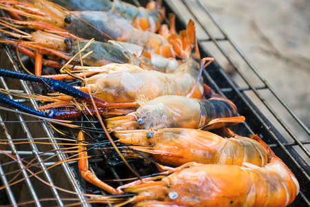 burn: River shrimp burn on the grill.