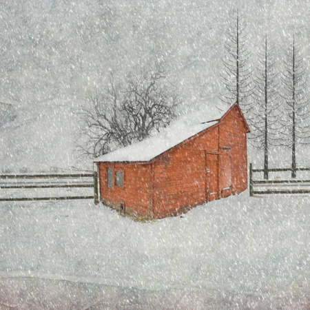 old red barn: Little Red Barn in a Snowy Landscape Stock Photo