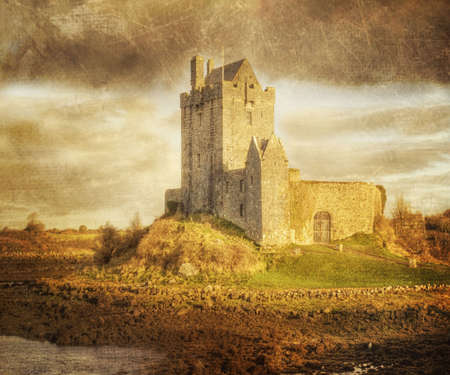 countryside landscape: Dunguaire Castle, Kinvara Co  Galway, Ireland, Vintage Style Editorial