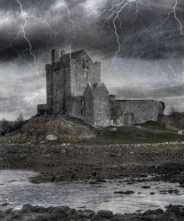 countryside landscape: Dunguaire Castle on Galway Bay, Kinvara County, Ireland