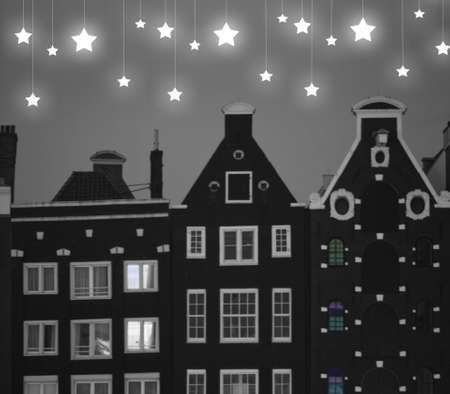 Gabled Roof Houses Under Starry Night in Amsterdam Stock Photo - 19157597
