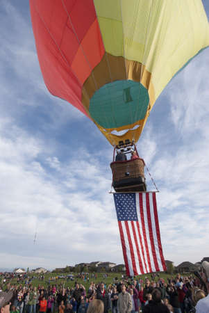 erie: Hot Air Balloon Lifting Off with American Flag