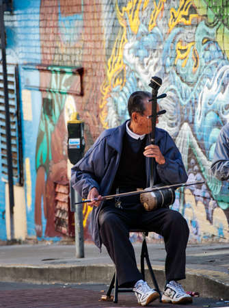 street musician: San Francisco Chinatown Street Musician playing the Erhu