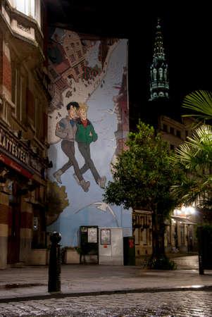 Brussels, Belgium, Comic Strip Art, at Night 版權商用圖片 - 22947595