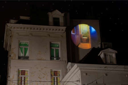 projected: Brussels, Belgium, Toilet Projected onto Building at Night