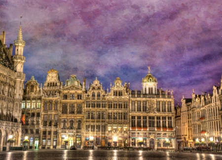 gabled: Brussels, Belgium, Grand Place at Twilight Hour