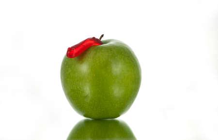Green Apple and Red Worm Zdjęcie Seryjne
