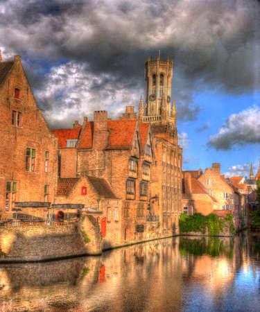 the flanders: Bruges, Belgium, Reflections of Medieval Buildings in River Dijver