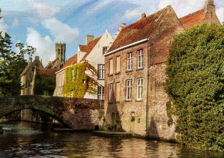Houses along waterway in Bruges, Belgium
