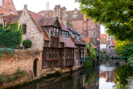Bruges, Belgium, Old Houses along Canal