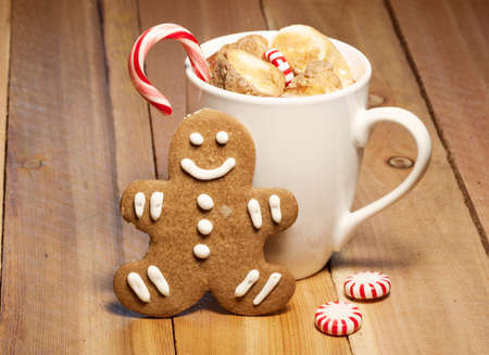 Mug of Hot Chocolate and Toasted Marshmallows Candy Cane and Peppermint round candies and Gingerbread cookie photo