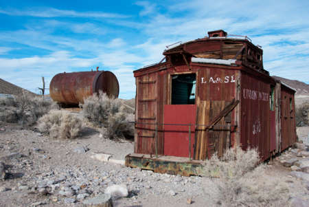 disuse: Abandoned Train Caboose Near Rhyolite Ghost Town in Death Valley