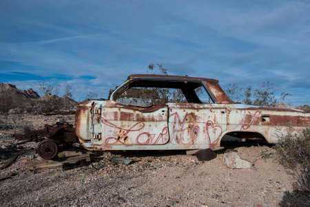 disuse: Abandoned Car in Rhyolite Ghost Town, Death Valley Stock Photo