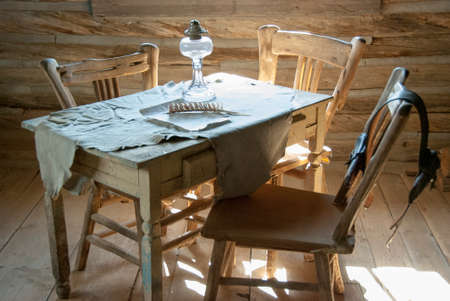 Interior of a Historic Pioneer Cabin