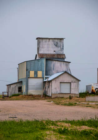 pawnee grassland: Old Grain Elevator Stock Photo
