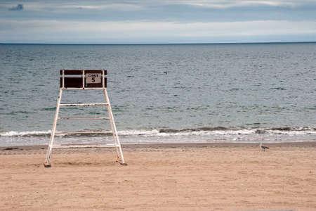 revere: Lifeguard Chair on Empty Beach