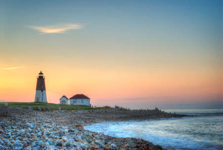 shore: Point Judith Lighthouse, Rhode Island, at sunrise Stock Photo