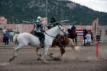 longs peak: ESTES PARK, COLORADO.  SEPTEMBER 7:  Light Armor Tournament at Longs Peak Scottish Irish Highland Festival on September 7, 2014 in Estes Park, Colorado, USA