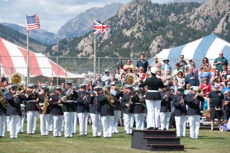 longs peak: ESTES PARK, COLORADO.  SEPTEMBER 7:  First Marine Division Band Performing at Longs Peak Scottish Irish Highland Festival on September 7, 2014 in Estes Park, Colorado, USA