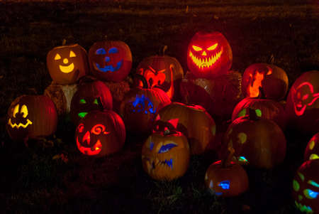 Group of Colorfully Lit Carved Pumpkins in park on fall evening Standard-Bild