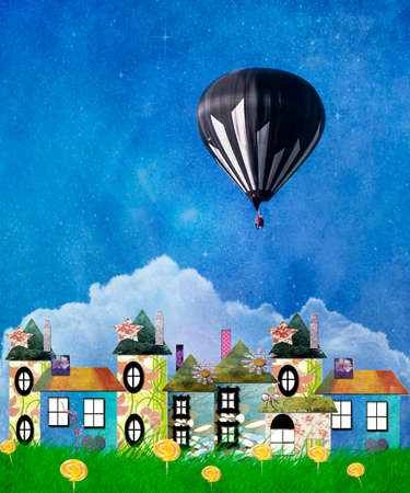 photomanipulation: Hot Air Balloon Sailing Over the Chimney Tops of a Magical Land with lollipop flowers Stock Photo
