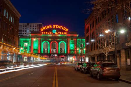 denver at christmas: Exterior View of Union Station on a Winter Night.  Denver, Colorado
