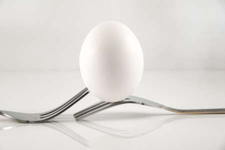 Egg Balanced on Two Forks with White Background