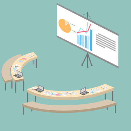 For business promotion lecture hall isometry Illustration
