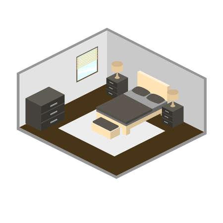 blanked: Modern bedroom isometric