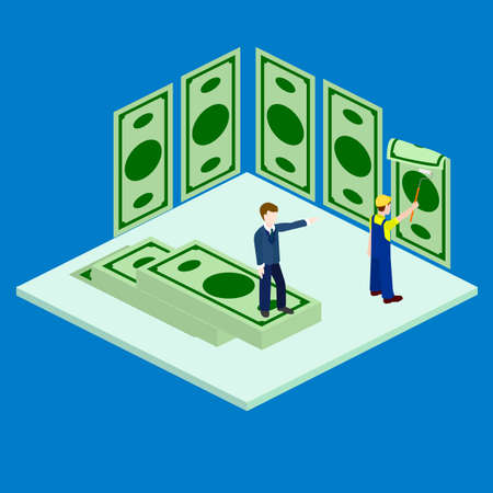Wallpapering, building, construction, employee, chief isometric Illustration
