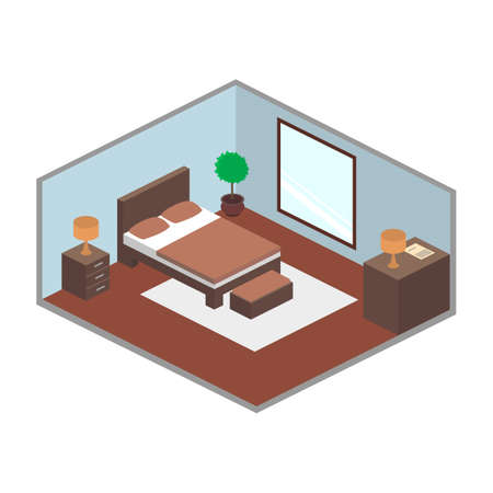 blanked: Modern bedroom isometry Illustration