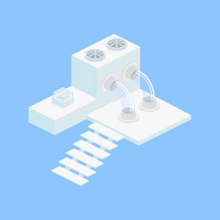 Isometric factory or laboratory icons set illustration