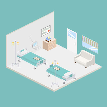 doctor appointment: Isometric hospital design interior illustration