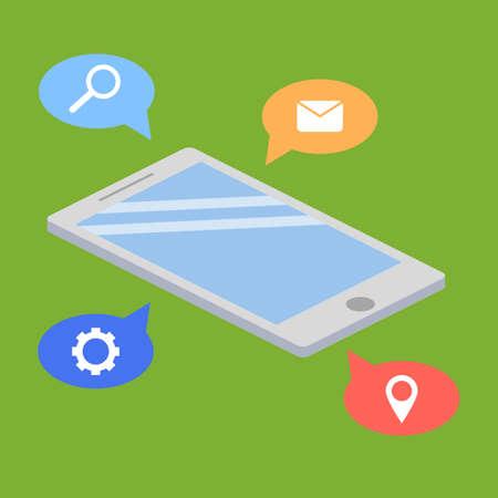 illustraion: Mobile phone isometric and icons illustraion