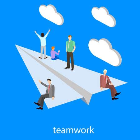 Teamwork startup isometric