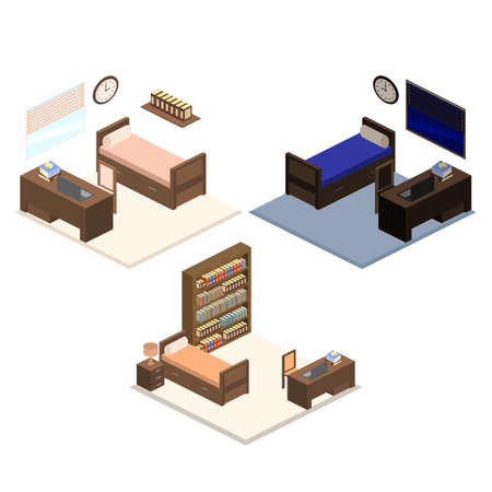 Set of Isometric illustration of a bedroom interior.