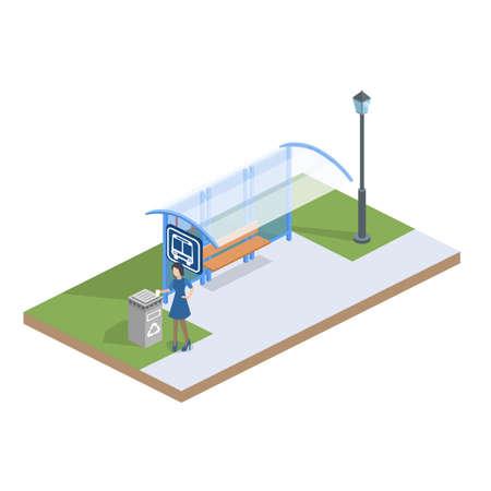 等尺性フラット 3 D 概念図人々 が通りにバス停でバスを待っています。
