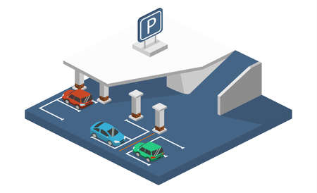 Isometric 3D concept illustration front and rear of the car in the underground parking. Urban transport.