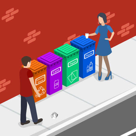 Isometric 3D concept illustration people throw garbage in the garbage can