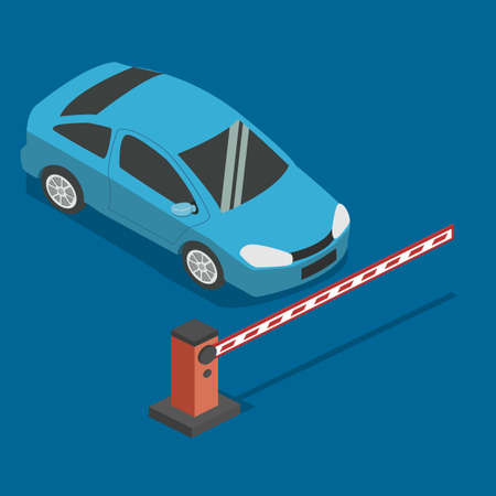 car: Isometric 3D concept illustration car parked in front of the barrier