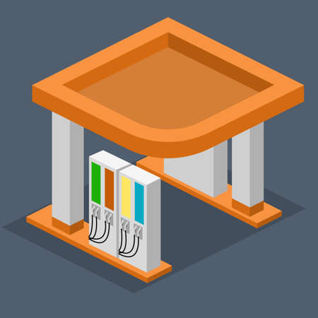 oil and gas industry: Isometric flat 3D concept gas station, gasoline, petrol station