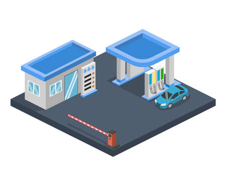 Isometric flat 3D concept gas station, gasoline, petrol station