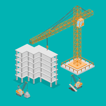 Isometric 3D illustration truck crane construction. construction of a multistory building.