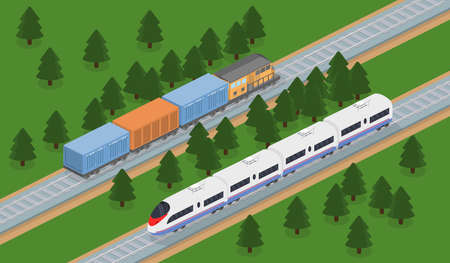 Isometric 3D illustration freight train and an express train on a railway track
