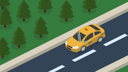 Isometric 3D concept vehicles on the road, transportation of passengers in the taxi. Standing on the site of transport.