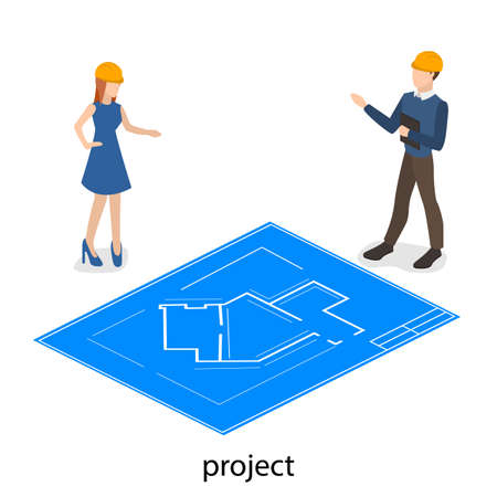 Isometric 3D concept engineers design the future structure. Businessmen engaged in the construction of the project. Illustration