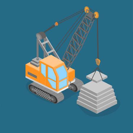 site: Isometric 3D illustration truck crane construction