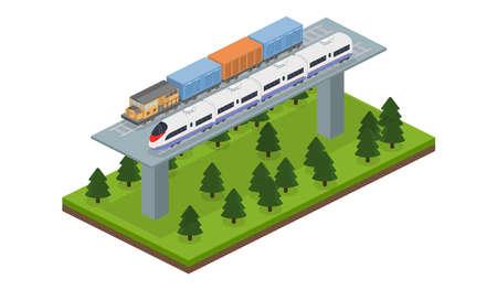 Isometrischer Vektor-Illustrationsgüterzug 3D und ein Eilzug auf einer Eisenbahnlinie und einer Brücke Standard-Bild - 74551560